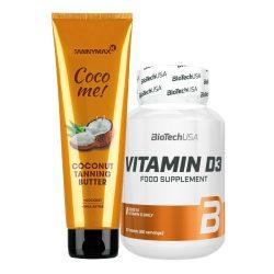Tannymaxx COCONUT Tanning Butter 150 ml + BioTechUSA Vitamin D3 60 tabletta