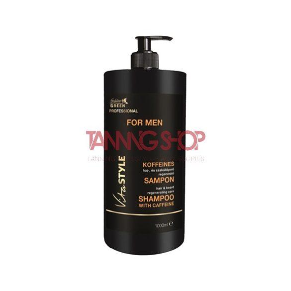Golden Green VITASTYLE for Men koffeines haj és szakáll ápoló regeneráló sampon 1000 ml